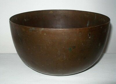 Gorgeous ARTS and CRAFTS Hand Crafted COPPER Singing BOWL Rich PATINA Much WEAR