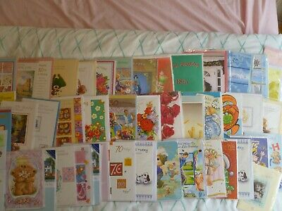 lot of 50 greetings cards with envelopes & cellos suitable for resale/car boots