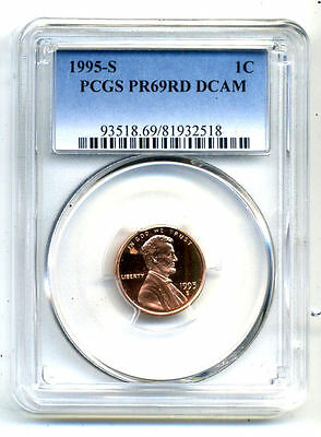 Pcgs Pf69 Rd Deep Cameo 1995 S Lincoln Proof Dcam Gem Bu 1C Cent Penny Coin#3360