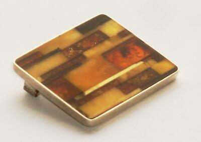 Very Rare Antique Vintage Modernist Abstract Collage Amber Panel & Silver Brooch