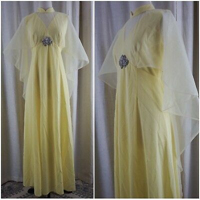 Vintage 70s Yellow Chiffon Caped Hippie Boho Disco Maxi Dress Goddess Gown M L