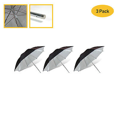 "[3 PCs] 33"" Black & Silver Umbrella Diffuser for Photo Studio Lighting Stand Kit"