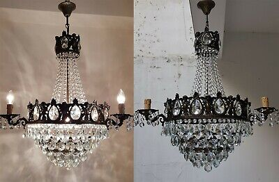 Matching Pair of Antique Vintage Brass & Crystals French HUGE Cherub Chandeliers