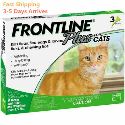 Frontline Plus Flea &Tick Remedy Control For Cats -3 Doses / 3 Months Protection