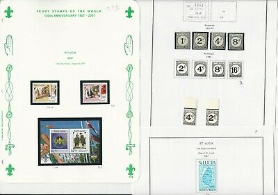 St Lucia Stamp Collection 1931 to 2007 on 20 Album Pages, With BOB