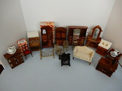 Big Lot Of Vintage  Miniature Wood Doll House Furniture 3 Nib 2 Town Square