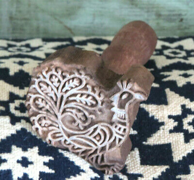 Intricately carved PEACOCK Farmhouse Primitive wood Butter Mold Stamp Press