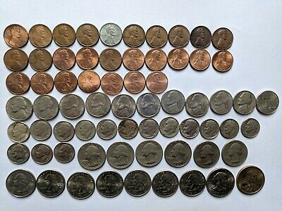 United States USA Coins Job Lot Wheat Pennies Nickels Dimes Quarters Dollars
