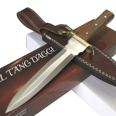 Medieval Style Dagger Knife w/Leather Sheath Wood Handle - Knight Pirate Viking