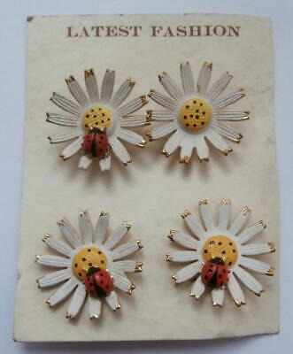 BN Vintage 1950's White Daisy & Ladybird Clip-on Earrings & Brooch Set Deadstock