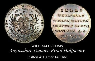 Angusshire Dundee Proof Conder Halfpenny D&H 14, Unc