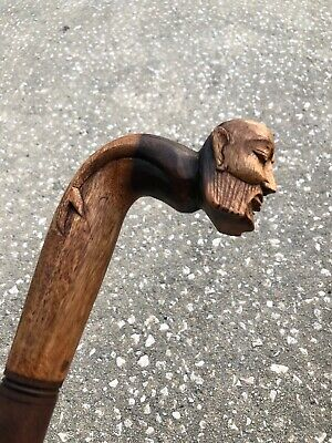 Wide Old Man Walking Stick Cane Mahogany Wood Design Wood Carving Art