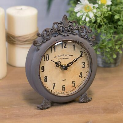 Antique Style Table Clock Metal Framed Clock with Scroll Design and Ornate Back