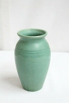 Arts Crafts Zanesville Matte Finish Froth Green Double Ringed Art Pottery Vase