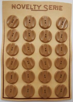 BNWOT Vintage 1930's Art Deco Card of 24 Beige Fancy Bakelite Buttons Deadstock
