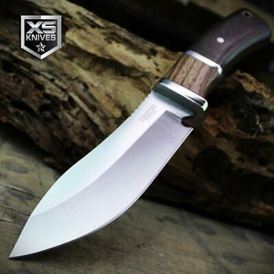 Combat SURVIVAL Hunting Tactical BOWIE Wooden Handle Fixed Blade FULL TANG Knife