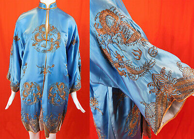 Antique Chinese Silver Gold Couching Embroidered Dragons Blue Silk Robe Coat Vtg