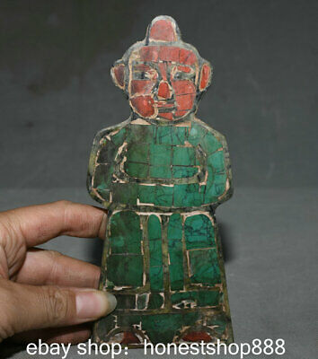 "7.6"" Old Chinese Liangzhu Hongshan Culture Old Jade Turquoise People Sculpture"