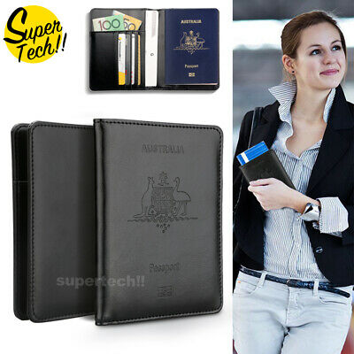Leather RFID Blocking Passport Travel Wallet Holder ID Credit Cards Cover Case