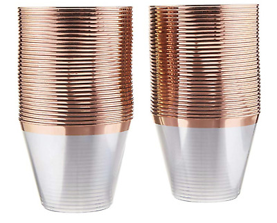 Rose Gold Rimmed Fancy Plastic Cups-  2x120pack=240pack 9oz Clear Tumblers