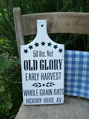 Antique Wood Bread Cutting Board Blue and White Milk Paint Old Glory Oats