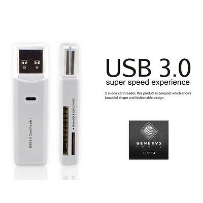 USB 3.0 2-in-1 Micro SD SDXC TF T-Flash Memory Card Reader Adapter up to 5 Gbps