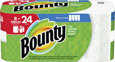 Paper Towels Bounty Select-A-Size White 8 Triple Rolls Equal 24 Regular Rolls