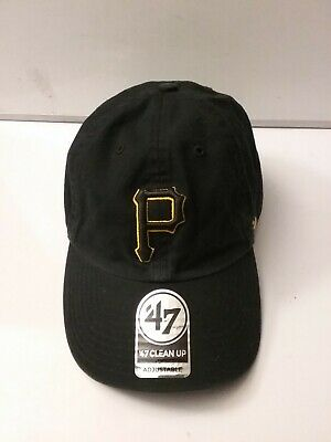 brand new b64a1 62f47 Pittsburgh Pirates 47 Brand Clean Up Strap Adjustable On Field Black Hat Cap  MLB