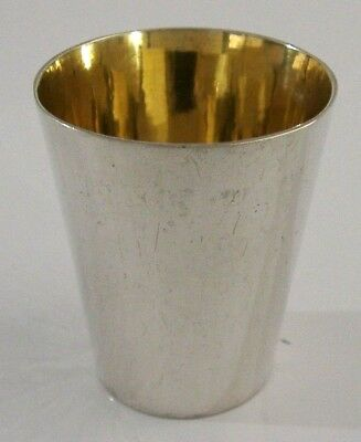 CHINESE EXPORT SOLID SILVER WHISKY TOT SHOT CUP c1920 ANTIQUE LUEN HING