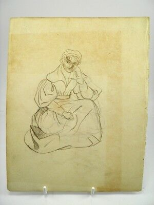 Antique 19th century English School pen & ink drawing portrait of a lady