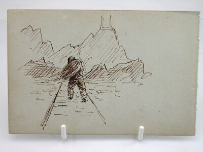 Antique 19th century English School pen & ink drawing fisherman on a pathway