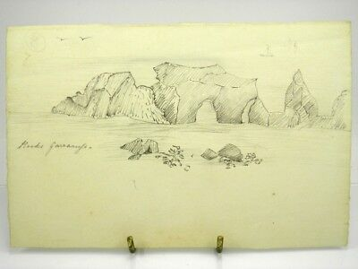 Antique early 20th century English School pencil drawing marine rock seascape