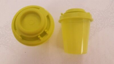 Tupperware Mini Salt and Pepper Shakers Yellow Green