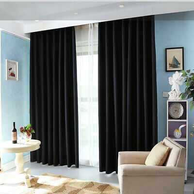 NEW Thermal RING TOP EYELET Blackout PAIR Curtains Ready Made Fully Lined Home