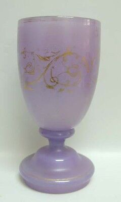 Hollow Base Lavendar Glass Wine Goblet w/Gilding