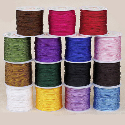 0.8mm Nylon Cord Thread Chinese Knot Macrame Rattail Braided Bracelet String 45M