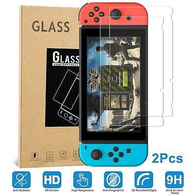 2Pcs Glass Screen Protector Cover For Nintendo Switch Console Premium Tempered