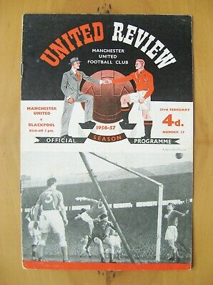 MANCHESTER UNITED v BLACKPOOL 1956/1957 Exc Condition Football Programme + Token