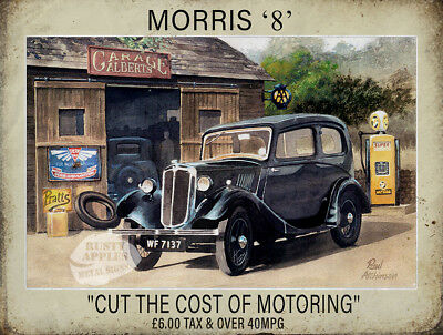 """Morris """"8"""" Vintage Car Cut The Cost Of Motoring Metal Sign:2 Sizes To Choose"""