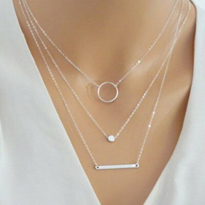 Fashion Silver Multilayer Round Women Lady Pendant Necklace Choker Chain Jewelry