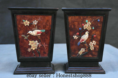 "6.8"" Rare Old China Redwood inlay Shell Flower Bird Brush Pot Pencil Vase Pair"