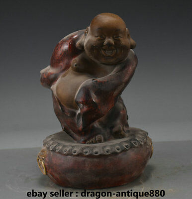 """8.8"""" Old Chinese Wucai Porcelain Dynasty Happy Maitreya Buddha Luck Sculpture"""