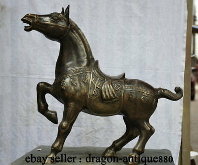 "24"" Old Chinese Dynasty Bronze Copper Folk Stand Steed Tang Horse Statue"