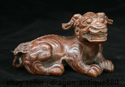 "4.8"" Old Chinese Red Copper Dynasty Palace Feng Shui Foo Dog Beast Sculpture"