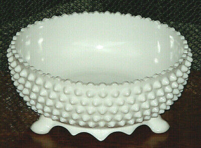 Vintage White Milk Glass Three Footed Bowl / Beautiful  pattern