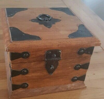 Vintage Lockable Rustic Iron Clad Wooden Box For Jewellery Etc
