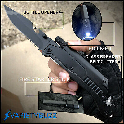 Black SHERIFF Spring Assisted Open LED Tactical Rescue Pocket Knife Multi-tool