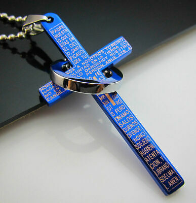 Pendant Blue Cross Bible Silver Necklace Ring Titanium New Unisex's Men Steel