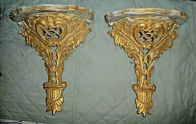 Pair Of Italian Palladio Hand Carved Ornate Wooden Shelf Brackets