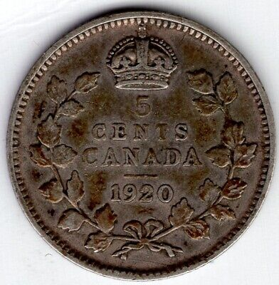 1920 Canada Five 5 Cent George V Fishscale Silver Nickel Coin